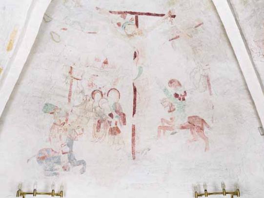 Kalkmaleri Rønninge Kirke korsfæstelsen